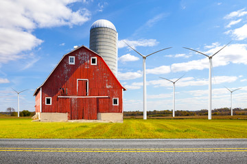 Old Red Barn With Wind Turbines