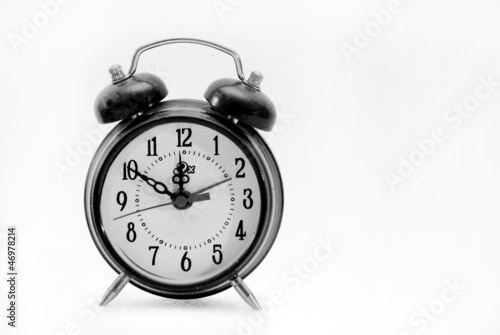alarm clock, black and  white