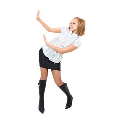 Full length of young woman holding gesture