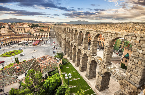 The famous ancient aqueduct in Segovia, Castilla y Leon, Spain