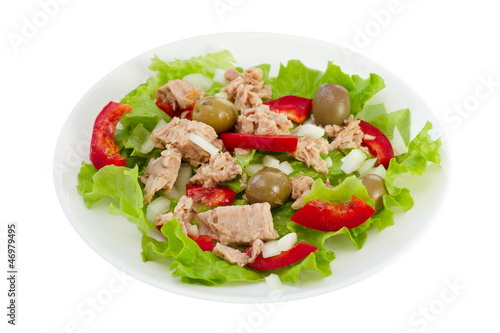 fish salad on the plate on white background