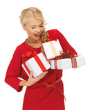 lovely woman in red dress with gift boxes
