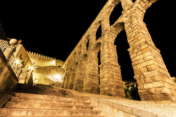 The famous ancient aqueduct of Segovia in the night, Castilla y