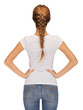 rear view of woman in blank white t-shirt