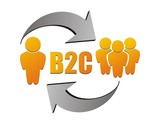 Business to customer , B2C illustration poster