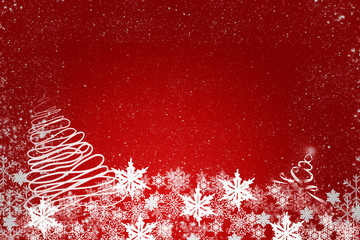 Red christmas background with white snowflakes