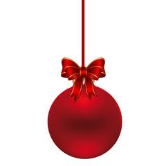 rote Christbaumkugel am Band mit Schleife