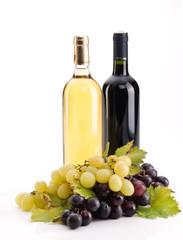 Bottiglie di vino e uva