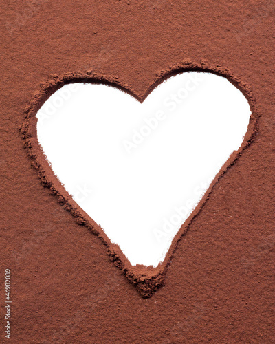 Heart drawn on cocoa powder