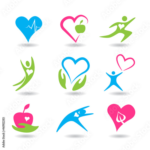 Nine icons symbolizing healthy hearts.