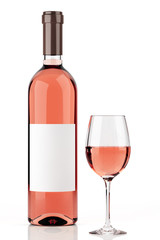 Rosé wine bottle isolated on white 1
