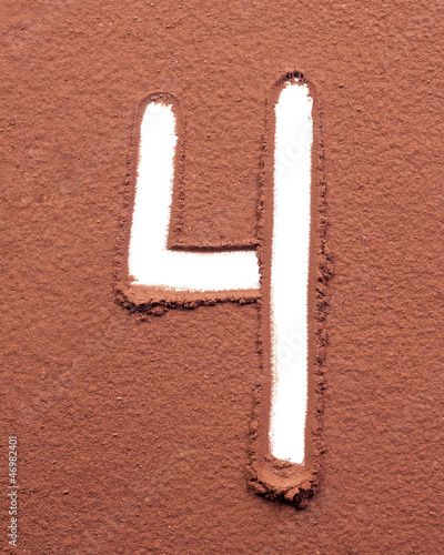 Number 4 made of cocoa powder