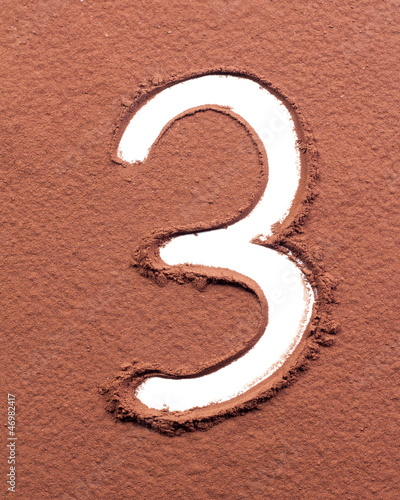Number 3 made of cocoa powder