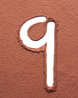 Number 9 made of cocoa powder