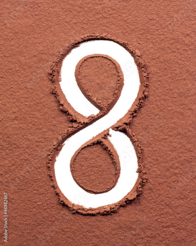 Number 8 made of cocoa powder