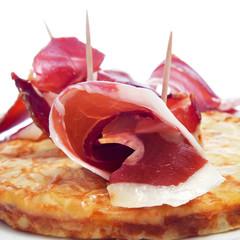 spanish tortilla de patatas and serrano ham