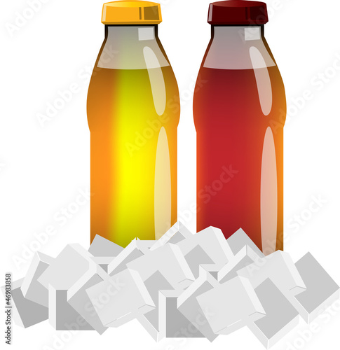 Plastic juice bottles with ice