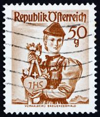 Postage stamp Austria 1949 Woman from Vorarlberg, Bregenzer Fore