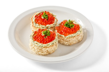 Canape with red caviar