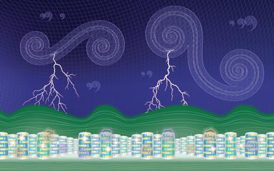 Stormy city (desktop background - aspect ratio 16:10)