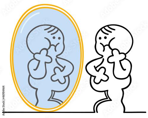 figur mit übergewicht vor spiegel