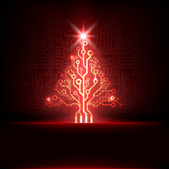 Vector electronic christmas tree
