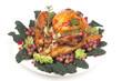 Garnished roasted turkey on white