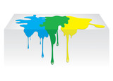 Blue, yellow, green color paint spill. Vector illustration