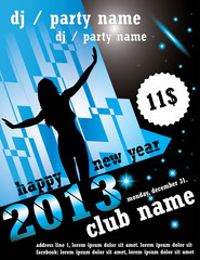New year 2013 club flyer. Vector, text converted to outlines