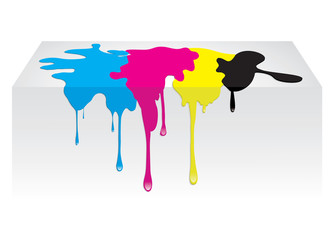 CMYK color paint spill dropping. Vector illustration