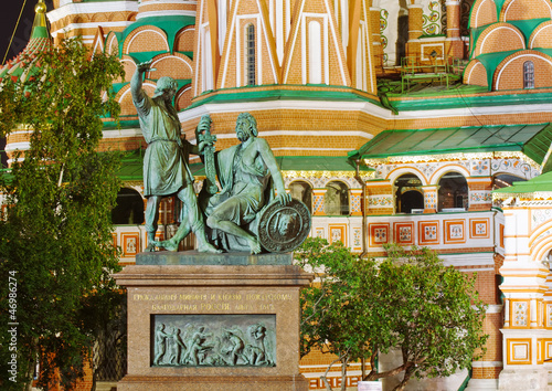 Statue of Minin and Pozharsky in Red Square, Moscow, Russia