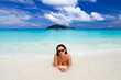 Beautiful woman on the beach of Similan islands, Thailand