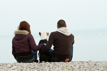 Young couple sitting on the beach with a dog