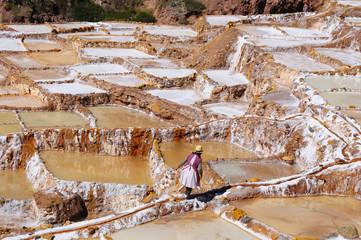 Peru, Sacred Valley, Traditional salt mine in Maras