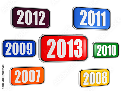 new year 2013 and previous years in colored banners