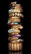 Beautiful golden bracelets isolated on black background