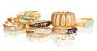 Elegant and fashion golden bracelets isolated