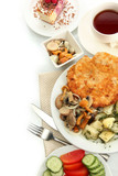 Roast chicken cutlet with boiled potatoes and mushrooms, cup of
