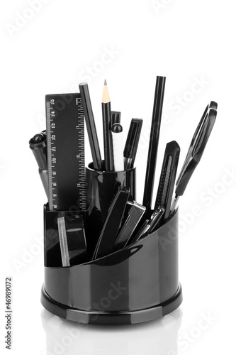 Holder for stationery isolated on white