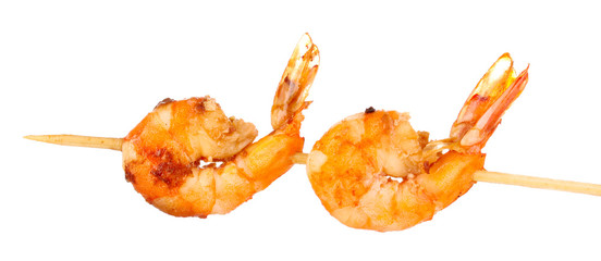 Shrimp skewers isolated on white