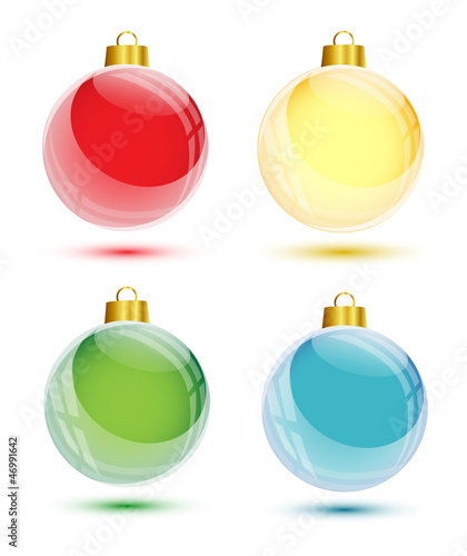 Christmas glossy balls on white