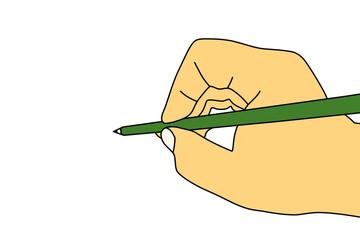 緑色の鉛筆を持った手のイラスト