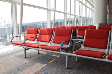 red chair at airport