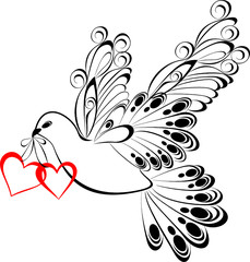 Flying dove with heart shaped