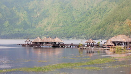 small village by lake in bali