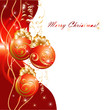 Christmas greeting card with red evening balls