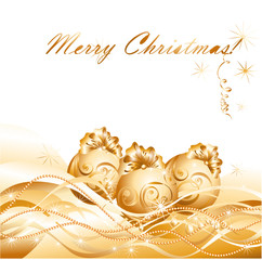 Christmas greeting card with golden evening balls