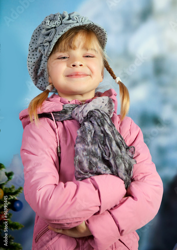 portrait of a beautiful girl in a beret on the background of the
