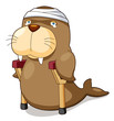illustration of Cartoon sea lion be injured