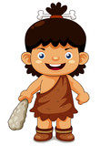 illustration of Cartoon cave boy